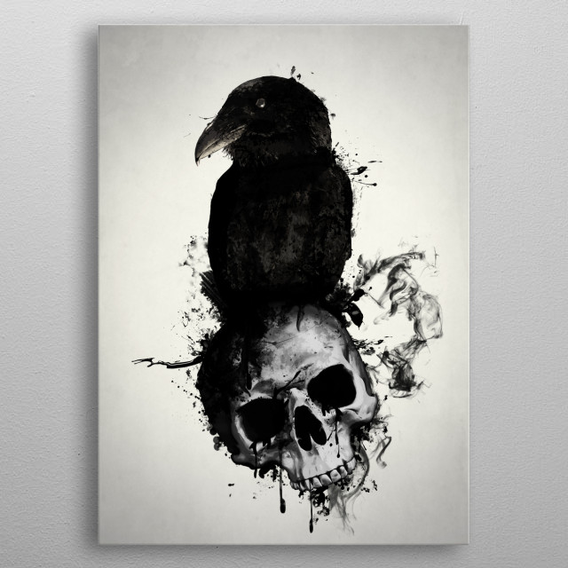 Raven and Skull metal poster