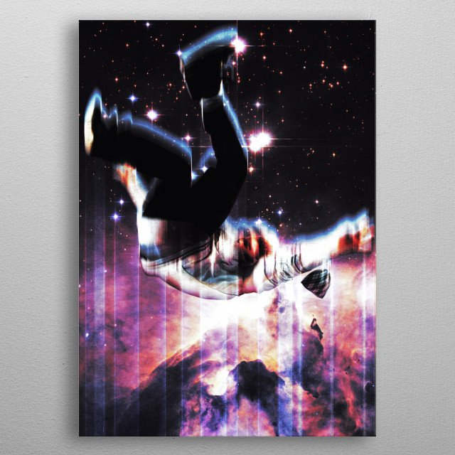 My surreal space dream composition of falling through time and space metal poster