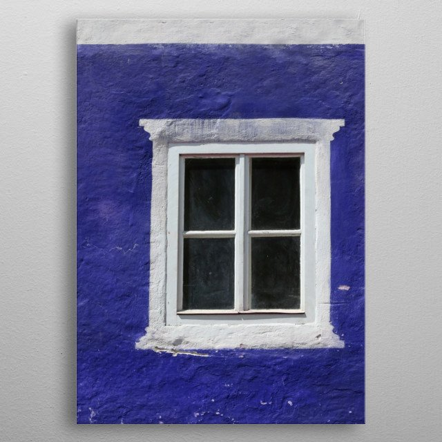 A white - trimmed window contrasts agains a cobalt blue building. Minimalist, geometric, architectural elements. metal poster