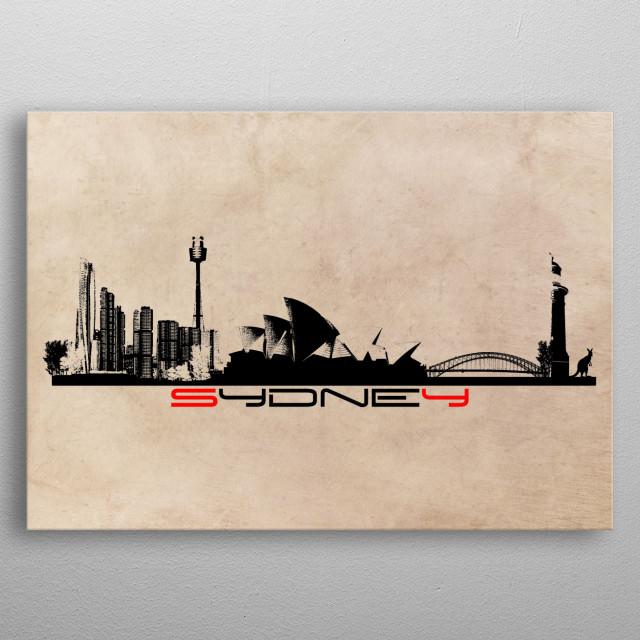 Sydney skyline city metal poster