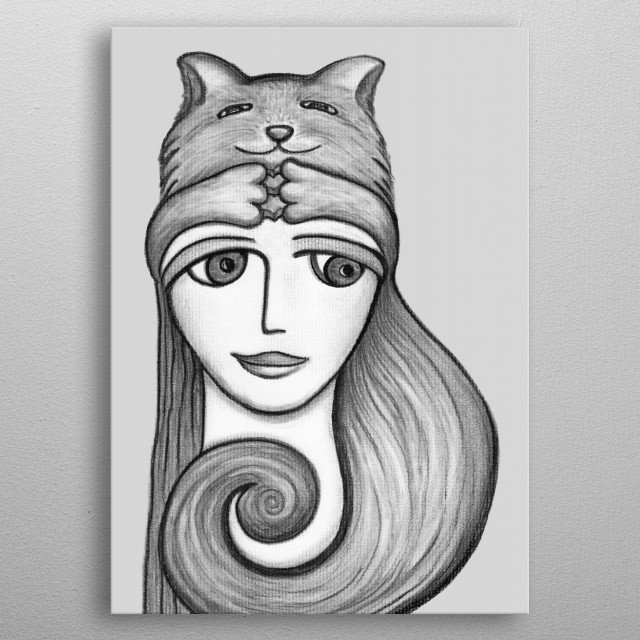Cat Hat - charcoal drawing metal poster