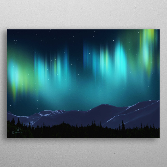 The Aurora borealis shimmers over of snow-covered mountains. The Aurora, or Northern Lights, is named after the Roman goddess of dawn, Aurora, and the Greek name for the north wind, Boreas. The Inuit of Alaska believed that the lights were the spirits of the animals they hunted: the seals, salmon, deer and beluga whales.  metal poster