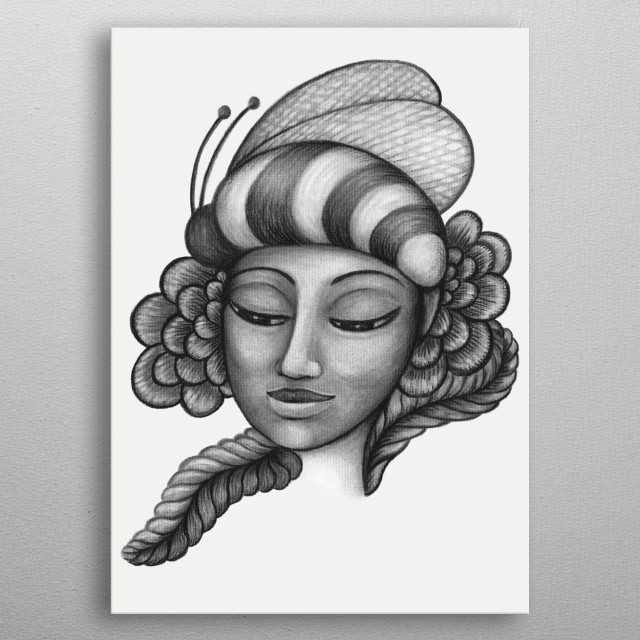 Bumble Bee Hat - charcoal drawing metal poster