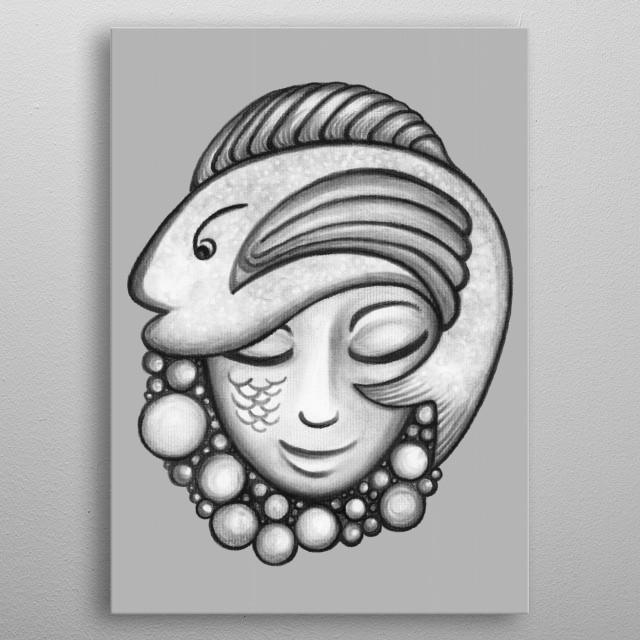 Fish Hat - charcoal drawing metal poster