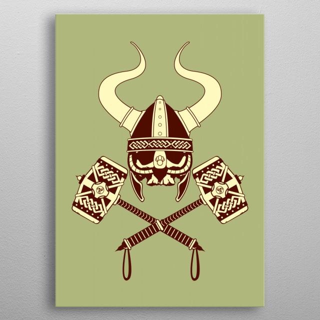 Viking skull v2 metal poster