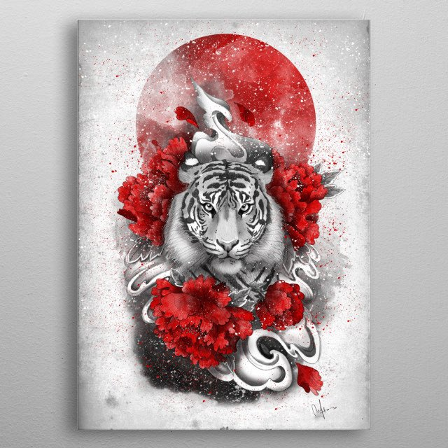 White tiger, red sun metal poster