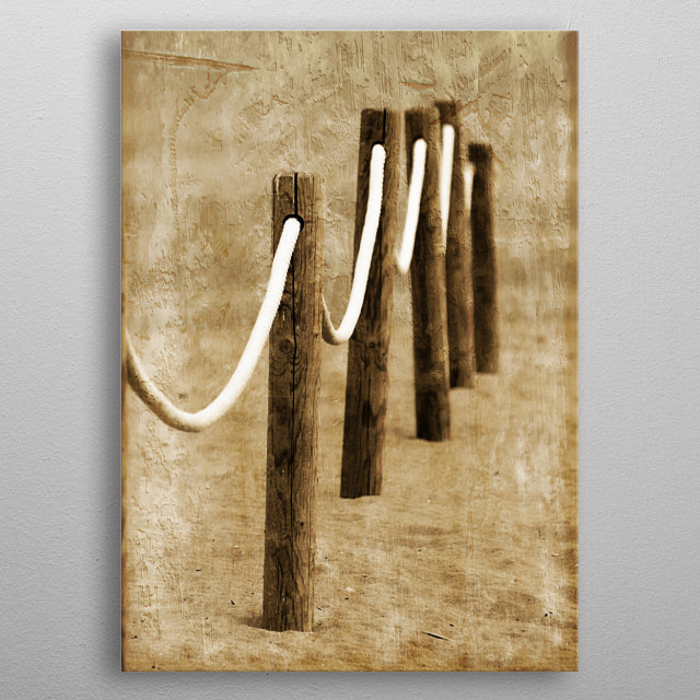 Sepia minimalist photography from the beach by Clare Bevan Photography. metal poster