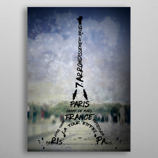 Eiffel Tower displayed in a very modern and decorative style. People are enjoying the city view from Trocadero. metal poster