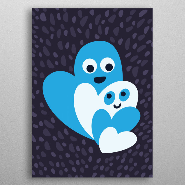 Fun illustration of a family of four happy white and blue hearts. metal poster