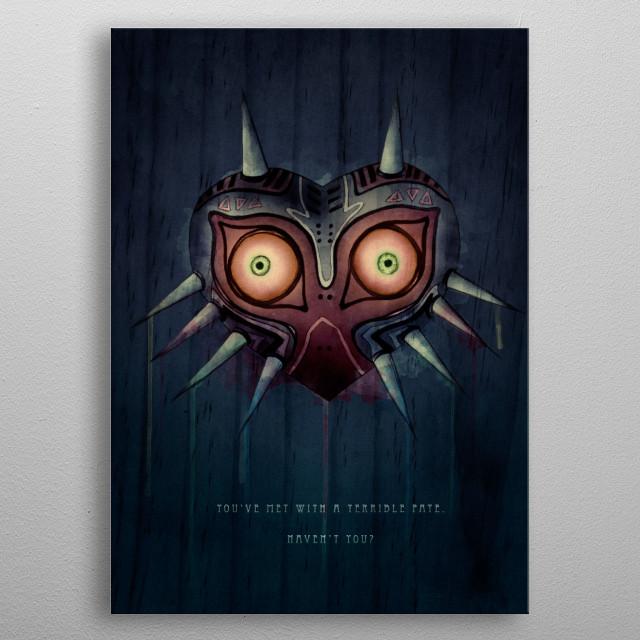 Legend of Zelda: Majora's Mask Terrible Fate Illustration (pencil, watercolour, digital)   metal poster