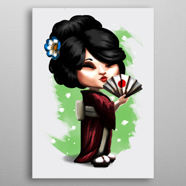 A japanese girl wearing a yukata. Chibi style and soft colors for those who love the japanese culture, both ancient and modern. metal poster