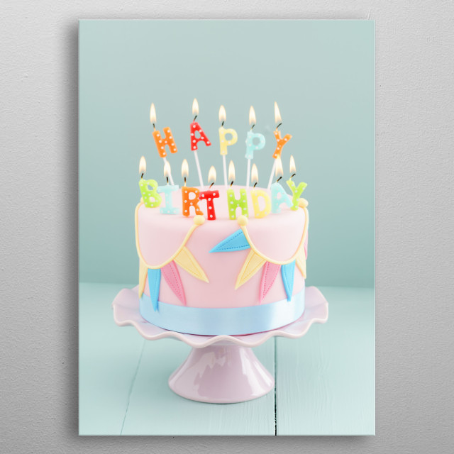 Fondant covered pastels coloured birthday cake with happy birthday candles metal poster