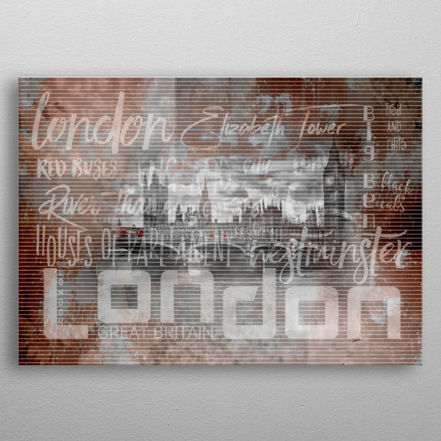 Urban-Art LONDON Houses of Parliament & Red Buses IV metal poster