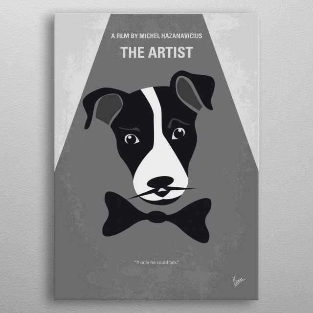 No609 My The Artist minimal movie poster  A silent movie star meets a young dancer, but the arrival of talking pictures sends their careers i... metal poster