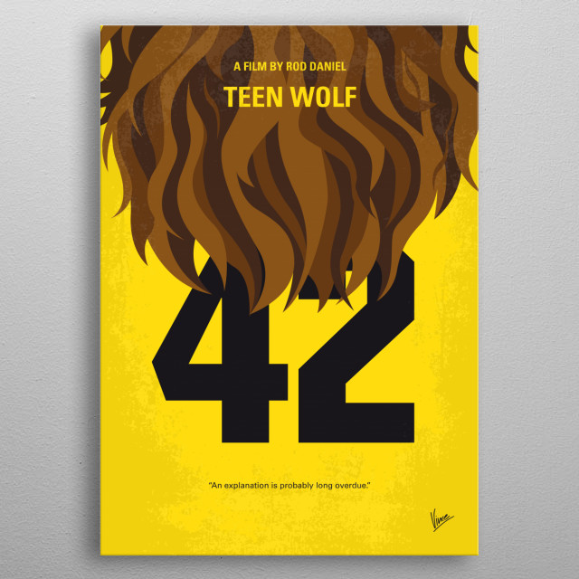 No607 My Teen Wolf minimal movie poster A struggling high school student with problems discovers that his family has an unusual pedigree when he finds himself turning into a werewolf. Director: Rod Daniel Stars: Michael J. Fox, James Hampton, Susan Ursitti  metal poster
