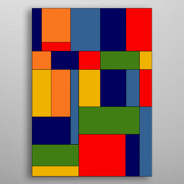 Abstract #348 is an original digital design inspired by the work of Piet Mondrian. metal poster