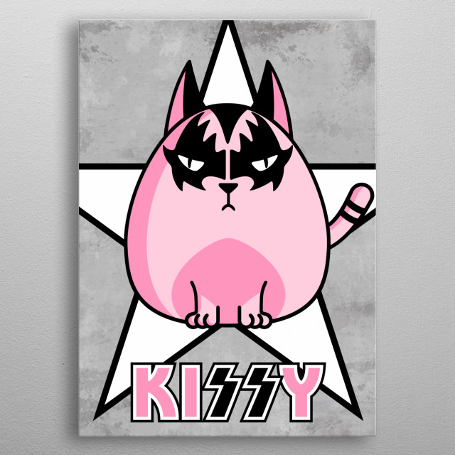 Kiss-y the cat metal poster