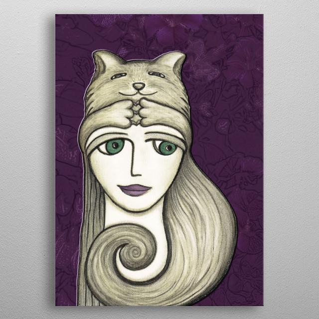 Cat Hat metal poster