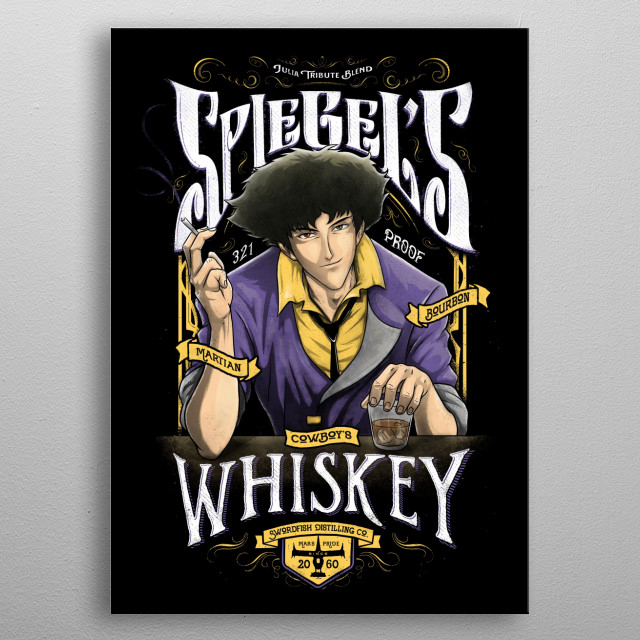 A collaborative artwork between artist J.P. Perez and Barrett Biggers of a funny whiskey label design for a cowboy metal poster