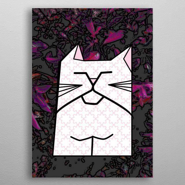 Sleepy Flower Cat metal poster
