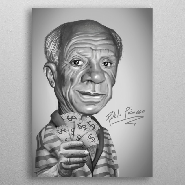 Pablo Picasso Caricature metal poster