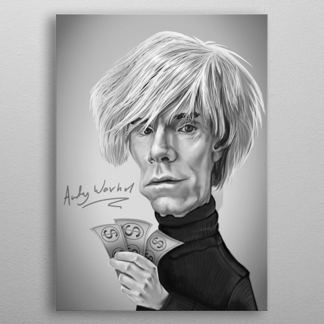 Andy Warhol Caricature metal poster