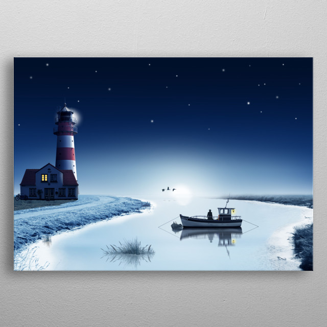 Starry sky above the lake in winter. A fisherman in the bay with lighthouse. Blue-white romantic motive in the wintertime on the coast metal poster