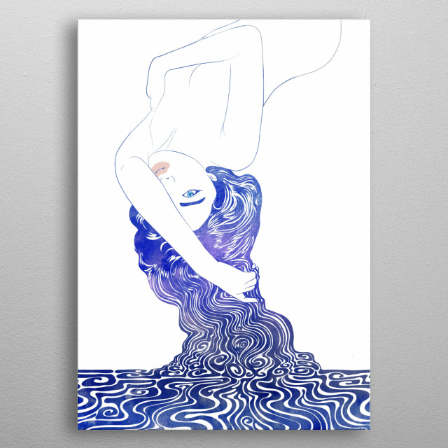Water Nymph 36 - A mythological sea nymph created with vector lines and hand painted watercolor by artist Stevyn Llewellyn metal poster