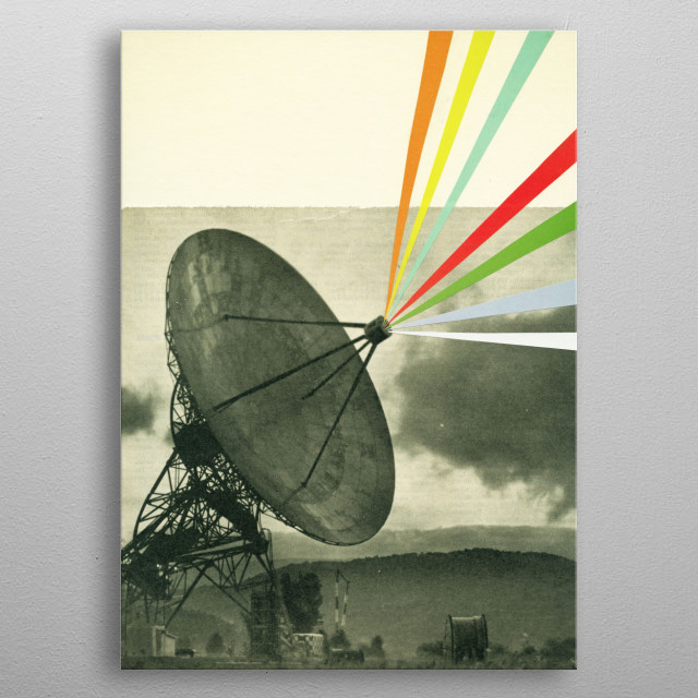A vintage sci-fi collage by Cassia Beck. metal poster
