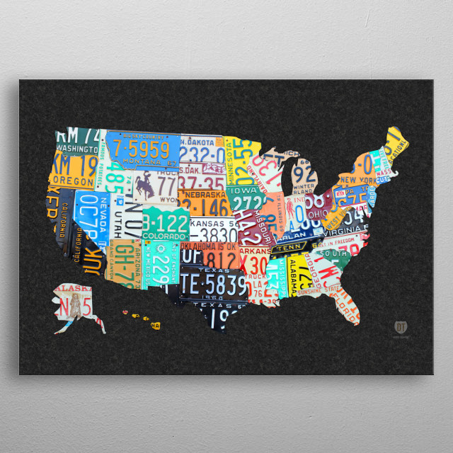 License Plate Map Of The USA O By Design Turnpike Displate - License plate usa map