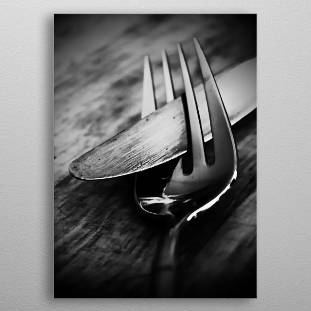 Modern dark monochromatic kitchen art photography by Cl... metal poster