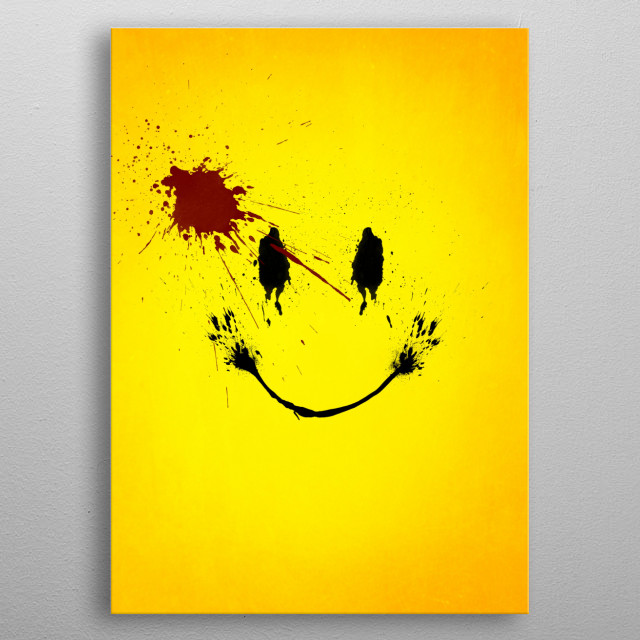 Splatter effect artwork inspired by Watchmen. metal poster