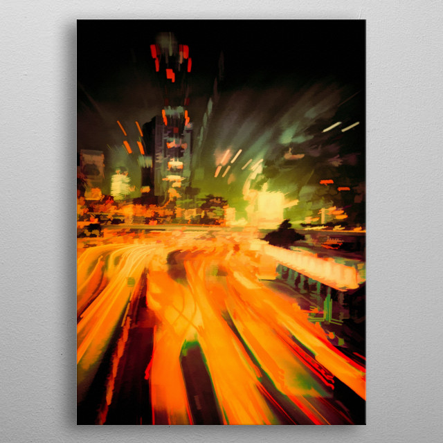 City by night metal poster