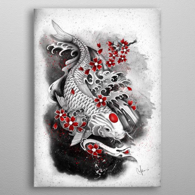 white koi and sakuras metal poster