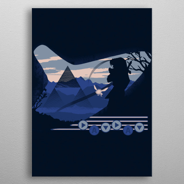 """Share your love for the Hyrule hero Playing the 'Song of time"""" metal poster"""