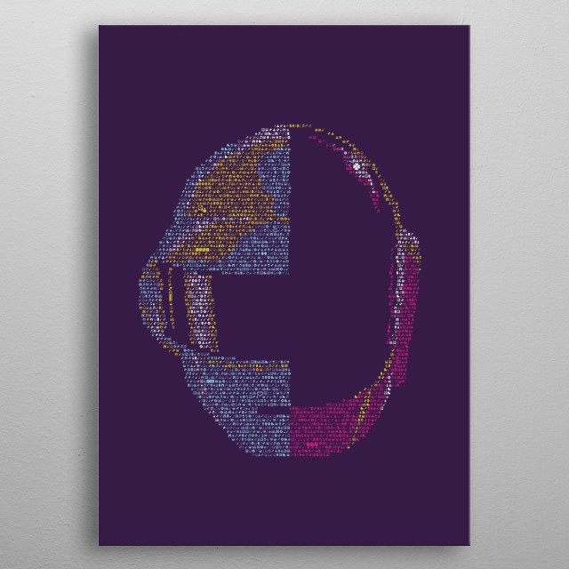 Daft Punk. Portrait made out of tiny icons; see more of the project here:  metal poster