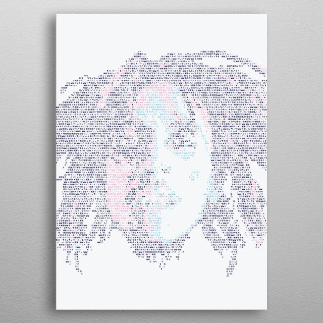 Bob Marley. Portrait made out of tiny icons; see more of the project here:  metal poster