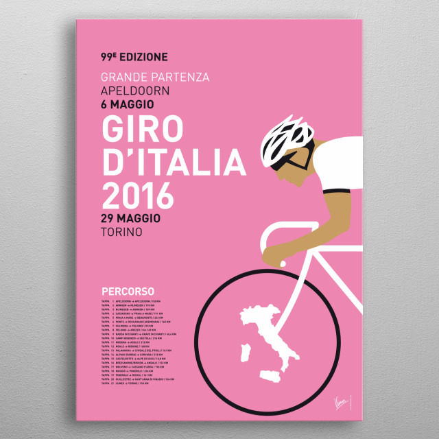 MY VUELTA A ESPANA MINIMAL POSTER 2016  In honor of the upcoming tours, these are the 2016 editions of my minimal Pro Cycling Posters: the To... metal poster