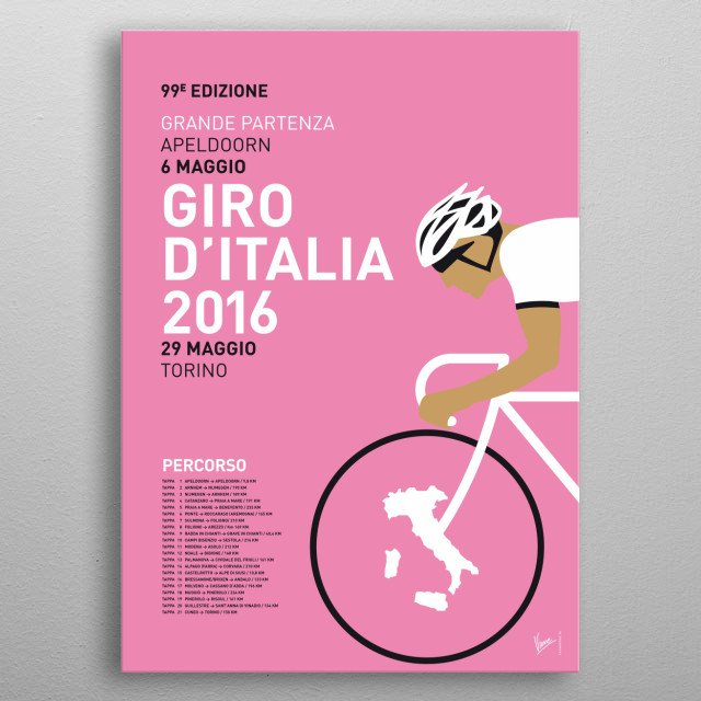 MY VUELTA A ESPANA MINIMAL POSTER 2016 In honor of the upcoming tours, these are the 2016 editions of my minimal Pro Cycling Posters: the Tour de France edition, the Giro D'talia edition and the Vuelta Espana. Hope you like them…  metal poster