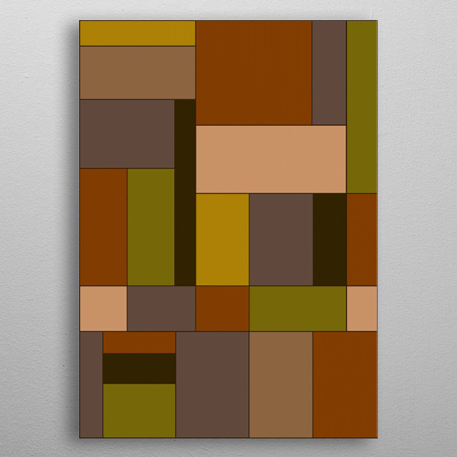 Abstract #370 is a digital abstract design in the style of Piet Mondriaan by Rockett Graphics.. metal poster