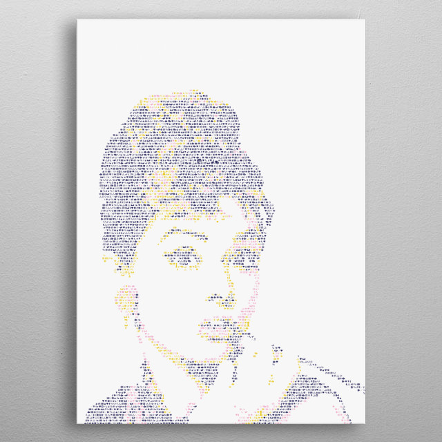 Audrey Hepburn. Portrait made out of tiny icons; see more of the project here:  metal poster