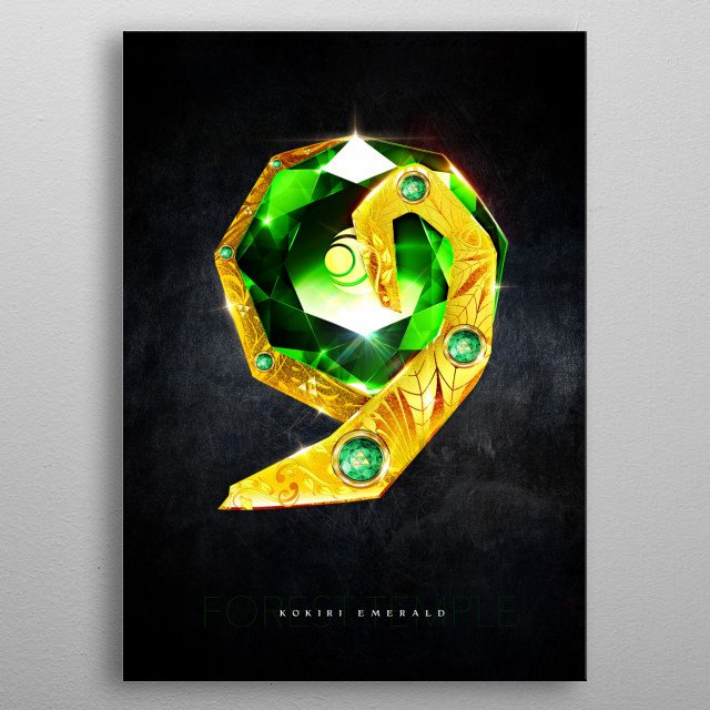 My rendition of a realistic Kokiri Emerald from the Forest Temple inspired by Legend of Zelda Ocarina of Time metal poster