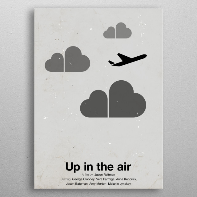 'Up in the air' pictogram movie poster.  metal poster