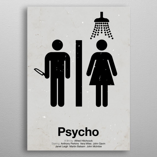 'Psycho' pictogram movie poster.  metal poster