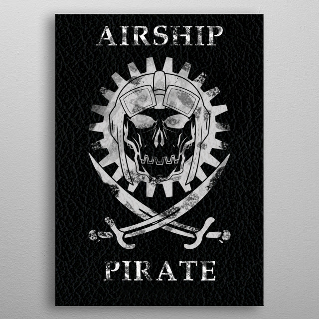Airship Pirate Jolly Roger metal poster