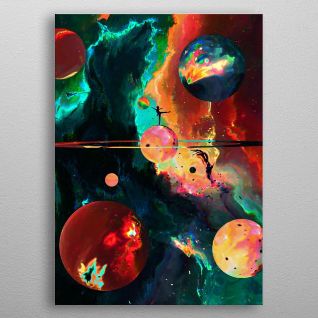 Silouhette in Space metal poster