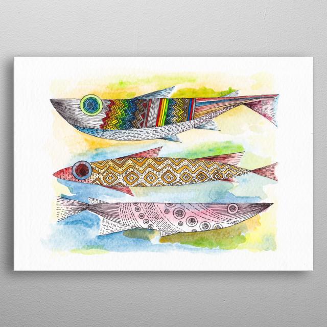 Three Fish metal poster