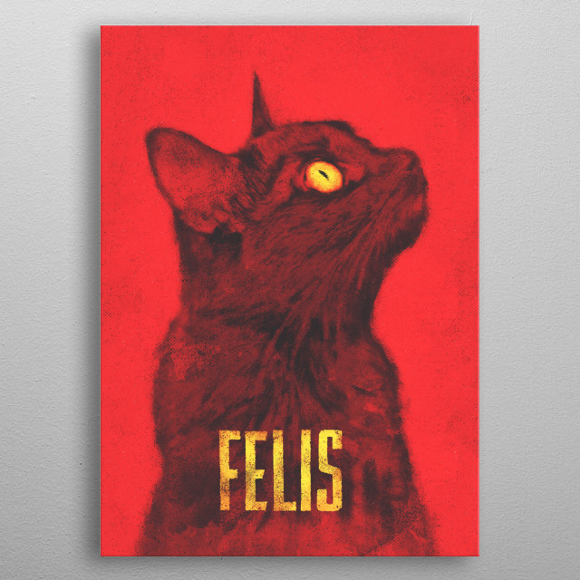 A vintage propaganda styled painting of the common house cat, the genus is Felis metal poster