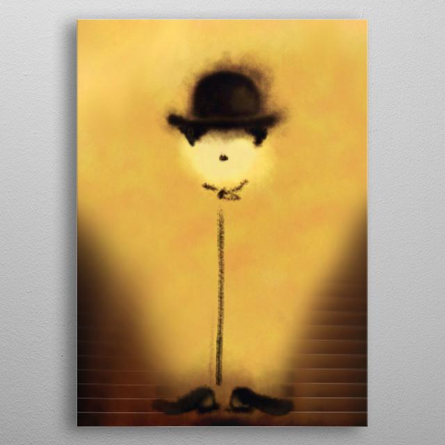 A digital Illustration of Charlie Chaplin's little flower metal poster
