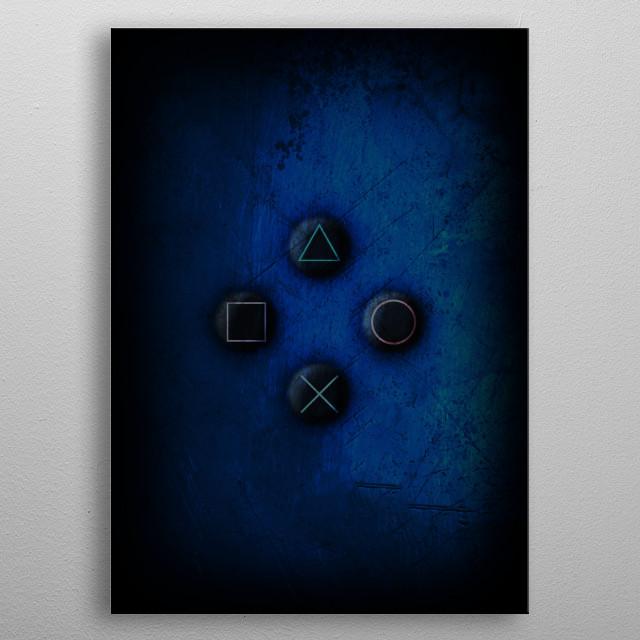 Playstation controller artwork metal poster